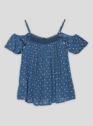 Blusa Melt Hombros Descubiertos Print Niña,Azul Eléctrico,hi-res