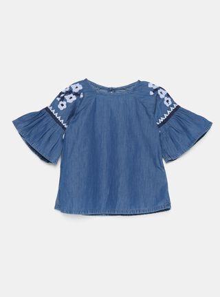 Blusa Tribu Bordado Niña,Azul Petróleo,hi-res