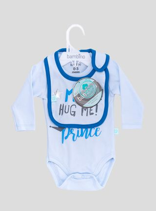 Set Body + Babero Mom Hug Me Azul Bambino,Celeste,hi-res