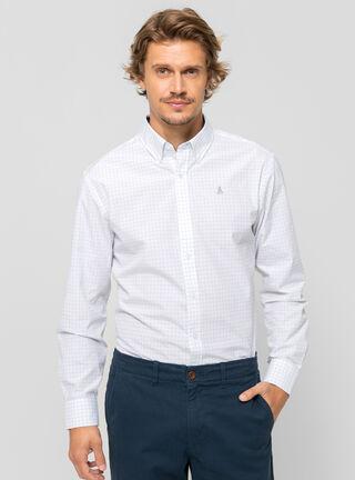 Camisa Poplin Check Core Rainforest,Azul Marino,hi-res