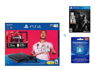 CONSOLA PS4 SLIM 1TB FIFA 20 + TARJETA PS NETWORK 20 USD + JUEGO PS4 THE LAST OF US REMASTERED