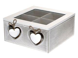 Caja Organizadora de Té Madera Blanco 18x18cm Attimo,,hi-res
