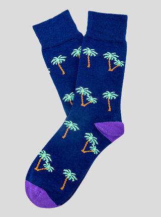 Calcetín Palmeras Socks Lab,Azul Marino,hi-res