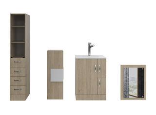 Muebles de Baño: Lavamanos + Torre + Muro + Espejo TuHome,Crema,hi-res