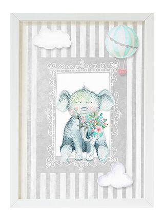 Cuadro Elefante Rayas Grises 20x30cm Decoración Pajarito,,hi-res