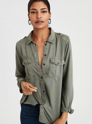 Blusa Militar American Eagle,Verde Militar,hi-res