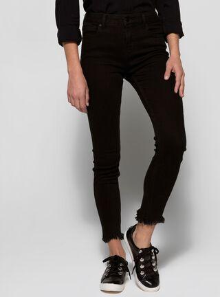 Jeans Terminación Flecos Foster,Negro,hi-res
