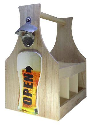 Porta Botellas Madera y Destapador Cebeza 28x17x29cm,,hi-res