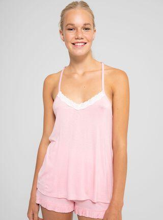 Pijama Corte Encaje Opposite,Rosado Pastel,hi-res