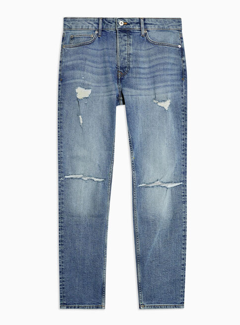 Jeans%20Mid%20Wash%20Ripped%20Stretch%20Skinny%20Fit%20Topman%2C%C3%9Anico%20Color%2Chi-res