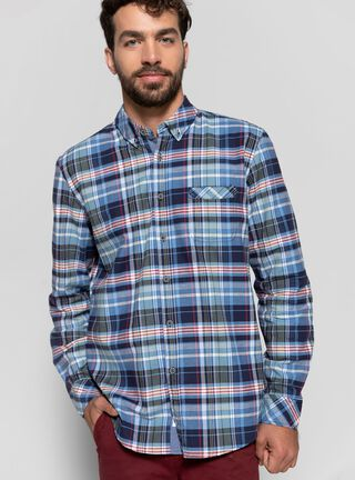 Camisa Rayas con Bolsillo Greenfield,Azul,hi-res