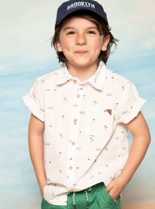 Camisa Tribu Tropical Niño,Blanco,hi-res