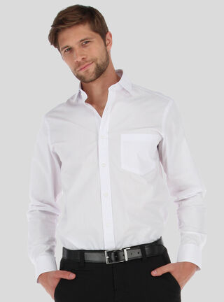 Camisa Diseño Liso Van Heusen,Blanco,hi-res