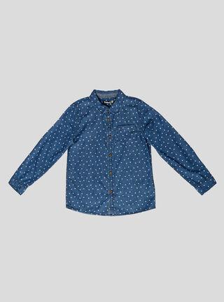 Camisa Tribu con Bolsillo Niño,Azul Oscuro,hi-res