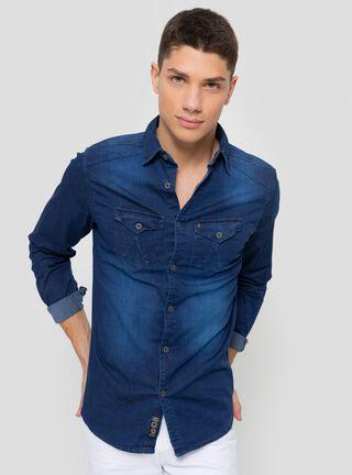Camisa Denim Focalizada JJO,Azul Eléctrico,hi-res