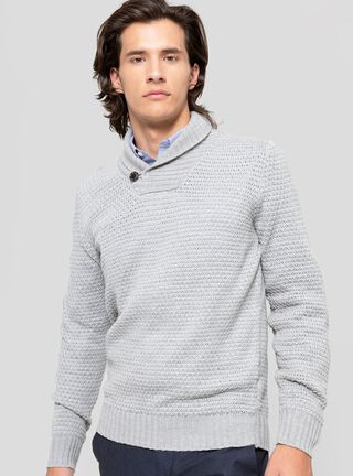 Sweater Cuello Cruzado Botón Rainforest,Grafito,hi-res