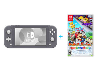 NINTENDO SWITCH LITE GREY + PAPER MARIO: THE ORIGAMI KING