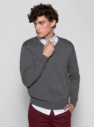 Sweater Básico Liso Cuello Redondo Dockers,Carbón,hi-res