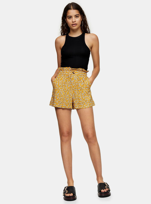 Short%20Mustard%20Floral%20Print%20Paperbag%20Turn%20Up%20Topshop%20%2C%C3%9Anico%20Color%2Chi-res