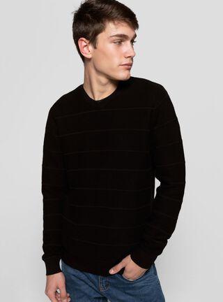 Sweater Básico Líneas Ellus,Negro,hi-res