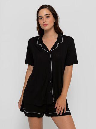 Pijama Camisa de Dormir Manga Corta y Short Cyan,Negro,hi-res