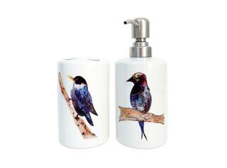 Set Baño Cerámica Pájaros Azules Paper Home,,hi-res