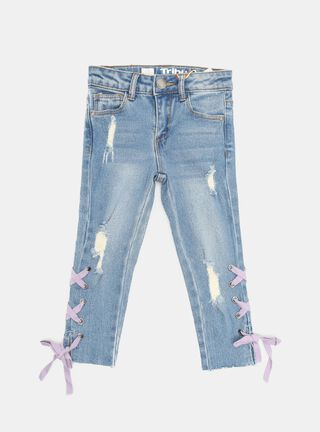 Jeans Tribu Lace-up Costados Niña,Celeste,hi-res