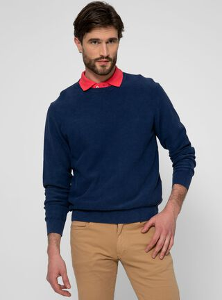 Sweater Clásico Creck Neck Liso SavilleRow,Azul Marino,hi-res
