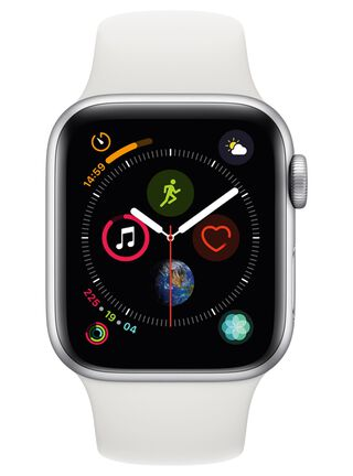 Apple Watch Series 4 (GPS), caja aluminio en plata 40 mm y correa deportiva blanca,,hi-res