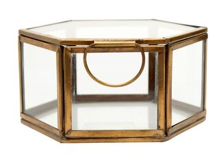 Caja Hexagonal Gold 13x6.5 cm Alaniz Home,,hi-res