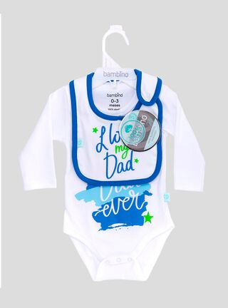 Set Body + Babero Love Dad Azul Bambino,Blanco,hi-res