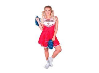 Disfraz Porrista Rojo Mujer Carnaval,Único Color,hi-res