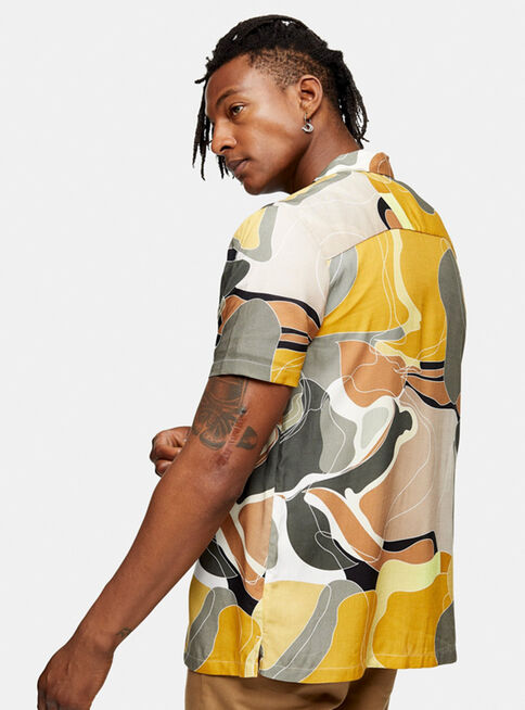 Camisa%20Khaki%20Marble%20Abstract%20Print%20Slim%20Topman%2C%C3%9Anico%20Color%2Chi-res