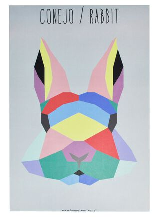 Canvas Geo Animal Conejo 20 x 30 cm Iman Decor,,hi-res