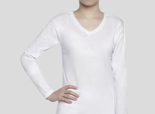 Camiseta%20Algod%C3%B3n%20Ni%C3%B1a%20Cuello%20V%20Manga%20Larga%20T10-12-14-16%20Tais%2CBlanco%2Chi-res