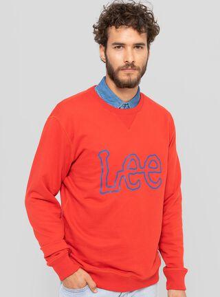 Polerón Logo Lee,Rojo,hi-res