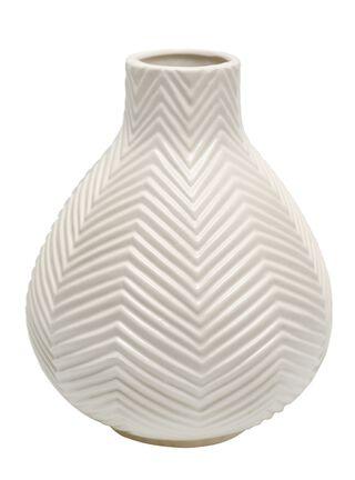 Jarrón de Cerámica Alaniz Home Textura 4 Blanco 19.5 x 19.5 x 25 cm,,hi-res