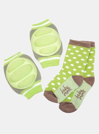 Pack Calcetines+ Rodilleras Baby Mink Polka,Verde,hi-res