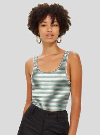 Polera Leni Striped Green Topshop,Único Color,hi-res