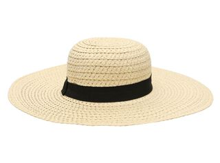 Sombrero Playa Alaniz Cinta Negra Mujer,Marfil,hi-res