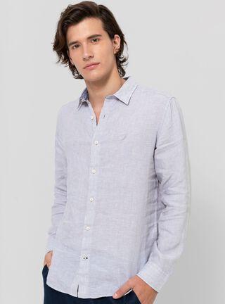 Camisa Lino Fit Clásico Nautica,Grafito,hi-res