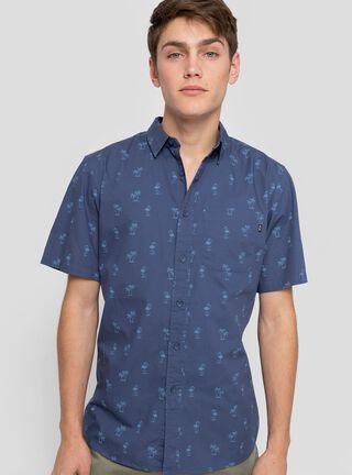 Camisa Print Palmeras Oakley,Azul,hi-res