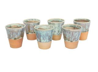 Set de 6 Vasos Manos del Alma Cerámica Azul 8 x 6 x 5 cm,,hi-res