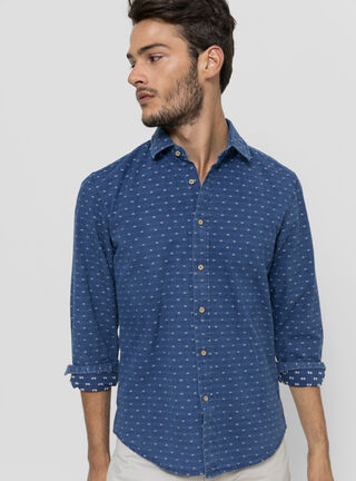 Camisa Casual Print Legacy,Azul Eléctrico,hi-res