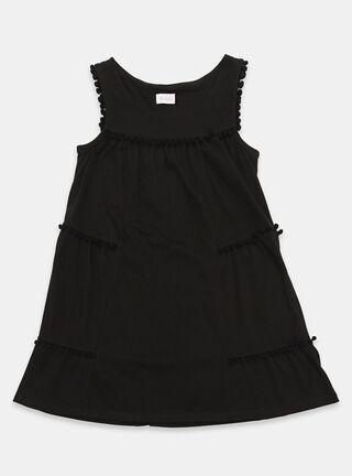 Vestido Tribu Pompones Niña,Negro,hi-res