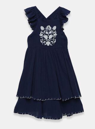Vestido Tribu Bordado Niña,Azul Oscuro,hi-res