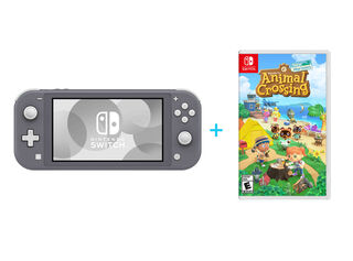 NINTENDO SWITCH LITE GREY + JUEGO NINTENDO SWITCH ANIMAL CROSSING: NEW HORIZONS