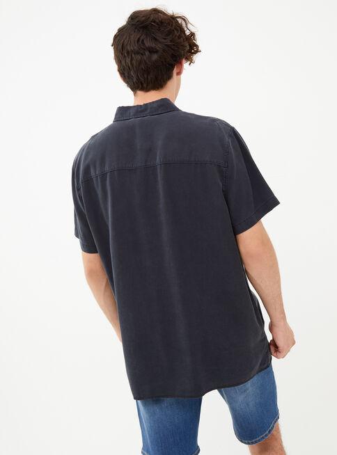 Camisa%20Manga%20Corta%20Lisa%20en%20Tencel%20Foster%2CNegro%2Chi-res