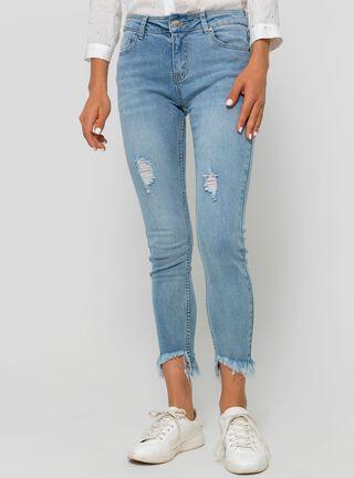 Jeans Tiro Medio Crop Roturas Foster,Celeste,hi-res