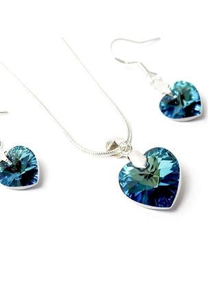 d90734e4b394 Conjunto Gloss Crystal Corazón Azul